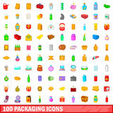 100 packaging icons set, cartoon style. 100 packaging icons set in cartoon style for any design vector illustration Royalty Free Stock Photos