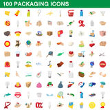 100 packaging icons set, cartoon style. 100 packaging icons set in cartoon style for any design vector illustration royalty free illustration