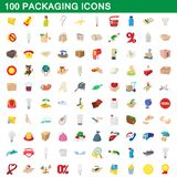 100 packaging icons set, cartoon style. 100 packaging icons set in cartoon style for any design illustration royalty free illustration