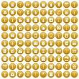 100 packaging icons set gold. 100 packaging icons set in gold circle isolated on white vector illustration Royalty Free Stock Image
