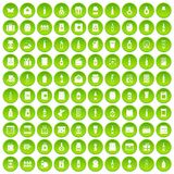 100 packaging icons set green. 100 packaging icons set in green circle isolated on white vectr illustration Royalty Free Stock Photography