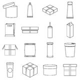 Packaging icons set, outline style Stock Photo