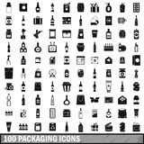 100 packaging icons set, simple style. 100 packaging icons set in simple style for any design vector illustration Stock Illustration