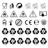 Packaging information label icons, packaging label symbols, labels. stock illustration