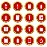Packaging items icon red circle set Royalty Free Stock Photo