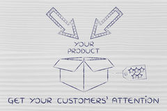 Packaging with label, arrows and text Get your customers' attent Royalty Free Stock Photo