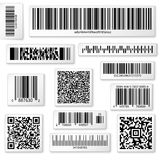 Packaging labels, bar and QR codes on white vector stickers Stock Photo