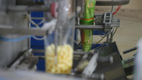Packaging machine at workshop of food factory Process of packaging candy in foil package Factory worker Automated