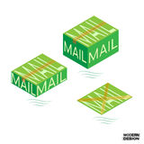 Packaging mail order boxes sealed tape. Large, medium and small green mail packaging. Vector Stock Image