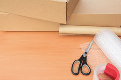 Packaging Materials with Boxes and Copy Space Royalty Free Stock Photography