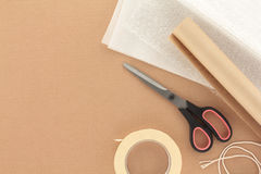 Packaging Materials with Scissors Stock Photography