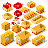 Packaging 02 Objects Isometric. Cardboard Boxes Set opened closed sealed with tape dispenser big or small format. Flat style vector illustration isolated on Stock Illustration
