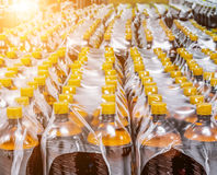 Packaging of plastic bottles. Packaging plastic bottles at the brewery. Packed shrink packaging film Stock Photos