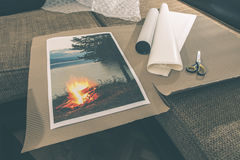 Packaging of printed wall art picture Stock Photos