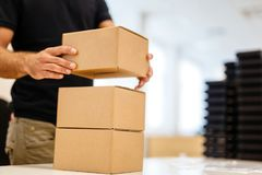 Packaging process before shipping. Packaging process last step before shipping royalty free stock image