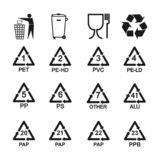Packaging recycling icons set. Vector illustration, flat design. stock illustration