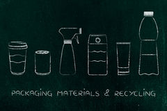 Packaging & recycling, mixed products Royalty Free Stock Photography