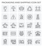 Packaging shipping icon. Vector line of packaging and shipping icon set stock illustration