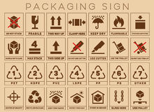 Packaging sign or symbols Stock Image