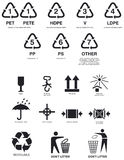 Packaging symbols. Pictograms for boxes and packaging stock illustration