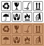 Packaging symbols and Cardboard Box Icons royalty free illustration
