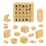 Packaging symbols and carton box set Stock Photography