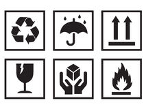 Packaging Symbols. International packaging symbols commonly found on boxes and cartons. Black on white. EPS file available Royalty Free Stock Photo