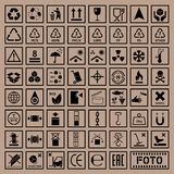 Packaging symbols set, cargo icons Stock Images