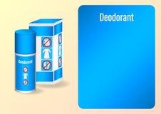 Packande deodorantsprej med symboler av skydd från svett vektor illustrationer