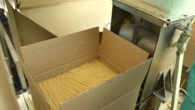 Packande pasta på fabriken lager videofilmer
