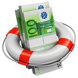 Packar av 100 europengarsedlar i lifesaver håller flytande stock illustrationer