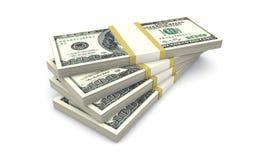 Packar av pengar som isoleras på vit Arkivbilder