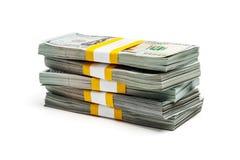 Packar av 100 US dollar upplagasedlar 2013 Arkivfoton