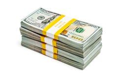 Packar av 100 US dollar upplagasedlar 2013 Arkivbilder