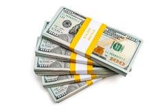 Packar av 100 US dollar upplagasedlar 2013 Arkivfoto