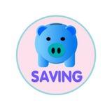 Packar ihop blåa rosa färger för svin det guld- myntet Royaltyfria Bilder