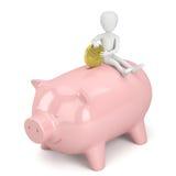 litet folk 3d - piggy pengar packar ihop. Arkivbild