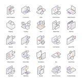 Packar isometriska symboler för shopping och för leverans vektor illustrationer