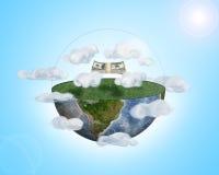 Packdollar fliegen über eine Hälfte der Erde unter Wolken Stockbilder
