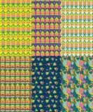 Packe av 6 abstrakta sömlösa modeller för triangel vektor illustrationer