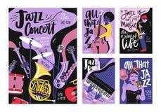 Packe av affisch-, inbjudan- och reklambladmallar för jazzmusikfestivalen, konsert, parti med musikinstrument vektor illustrationer