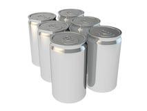 6 packe av aluminium cans för silver Fotografering för Bildbyråer