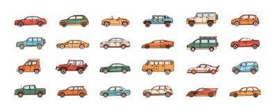 Packe av bilar av olika kroppkonfigurationstilar - cabriolet, sedan, uppsamling, halvkombi, skåpbil Uppsättning av modernt vektor illustrationer
