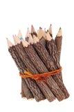 Packe av blyertspennor för trädstam arkivbild