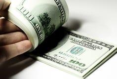 Packe av dollar Arkivbild