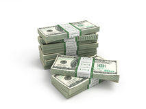 Packe av dollarräkningar som isoleras på vit bacground Arkivbilder