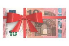 Packe av 10 eurosedlar med den röda pilbågen, gåvabegrepp renderi 3D Royaltyfria Bilder