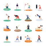 Packe av fotboll, syrsa, hockey, sportspelaresymboler arkivfoton
