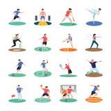 Packe av fotboll, syrsa, hockey, sportspelaresymboler arkivbilder