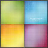 Packe av fyra colorfully ingreppsbakgrunder med mjuka modeller. Vektor Illustrationer